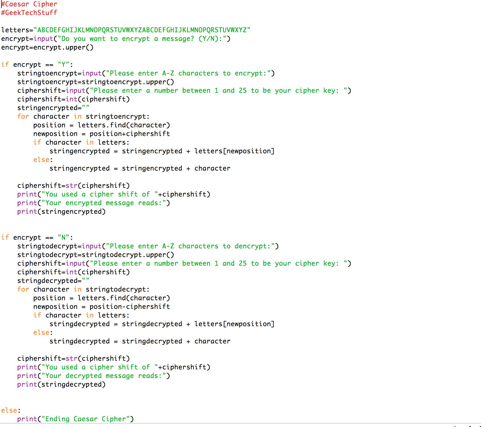Caesar Cipher (Python) – Geek Tech Stuff