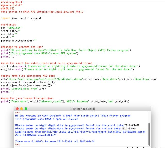 NASA NEO V1 (Python) – Geek Tech Stuff
