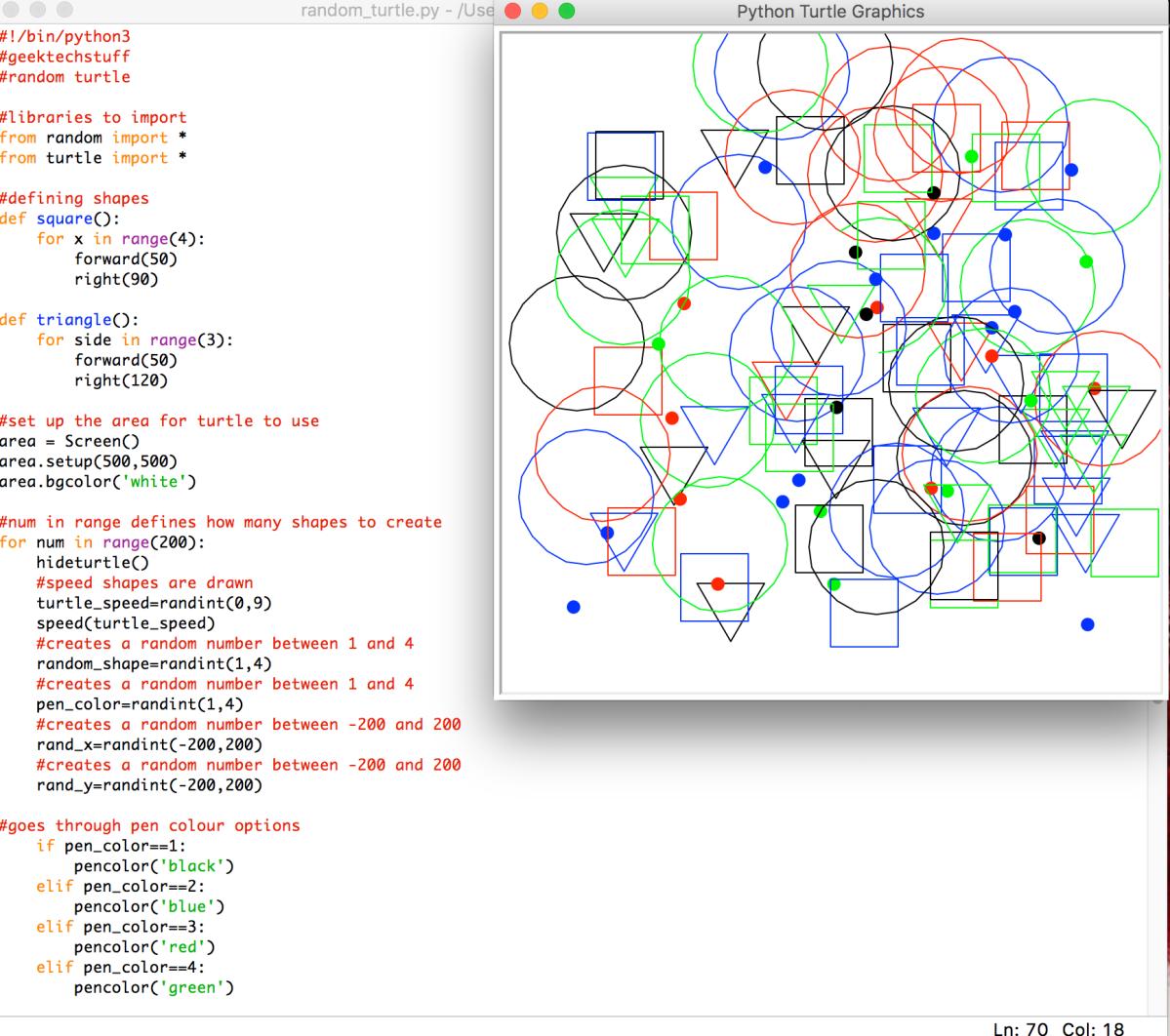 Random Turtle Shapes Python Geek Tech Stuff