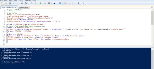 geektechstuff PowerShell Move Folder running