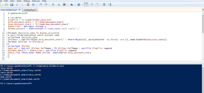 geektechstuff PowerShell Move Folder running