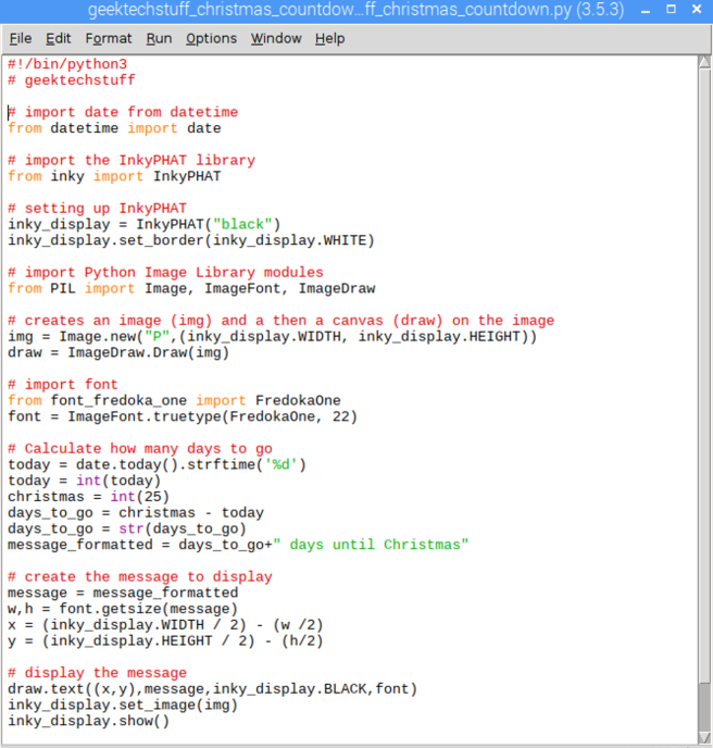 Countdown to Christmas code outputting to InkyPHAT