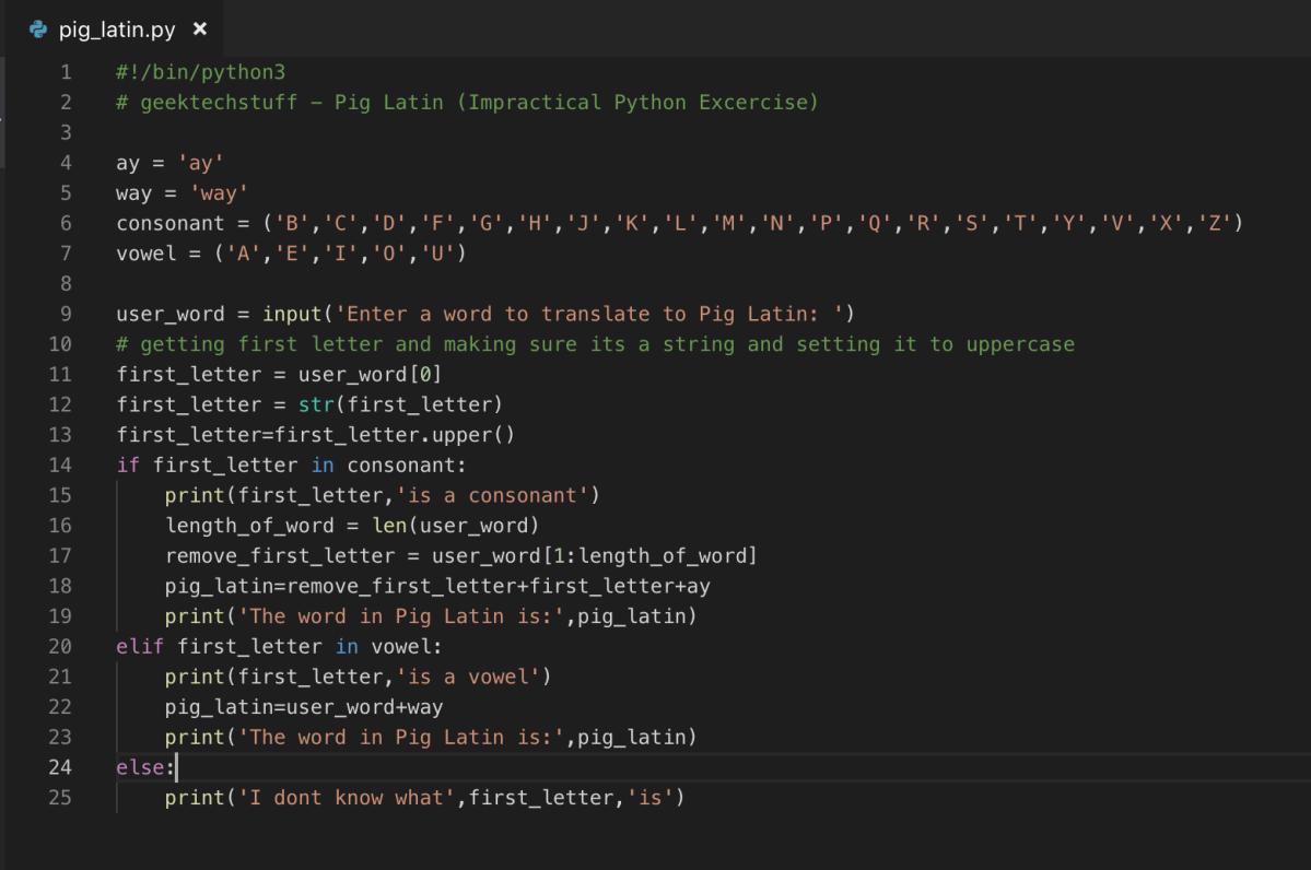 Convert Words To Pig Latin (Python) – Geek Tech Stuff