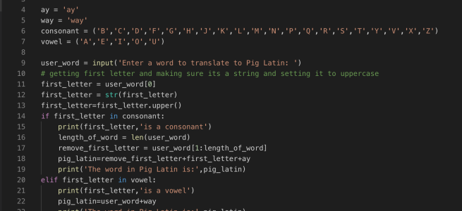 Python Pig Latin Translator