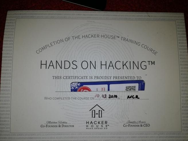 Hands On Hacking Cert