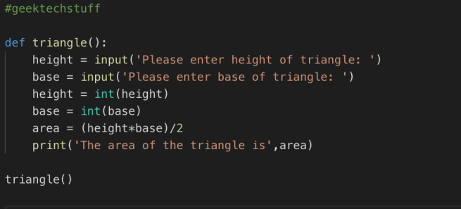 A function to find the area of a triangle