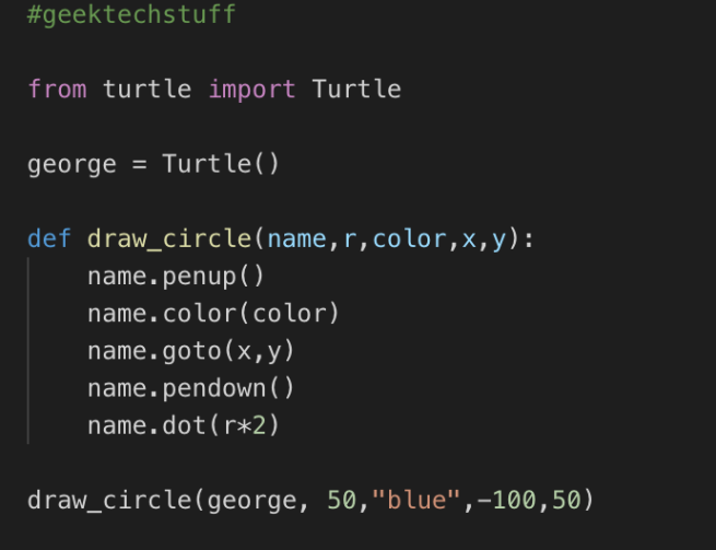 A Turtle Function to draw a circle at X,Y co-ordinates.