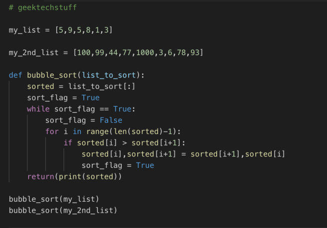 Python Bubble Sort