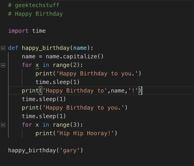 Python function to display Happy Birthday