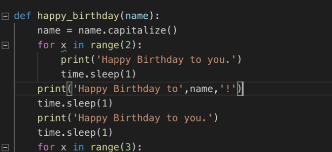 Python function to display Happy Birthday