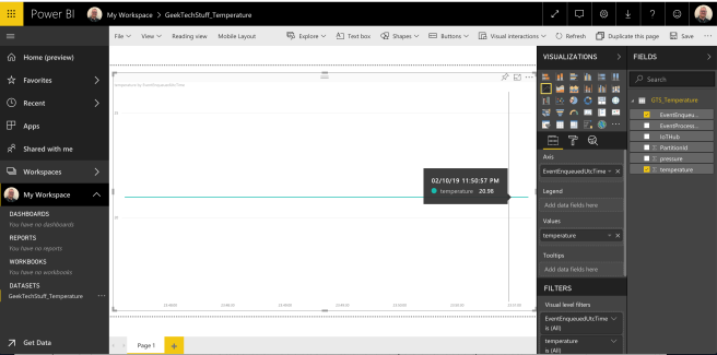 Power BI streaming temperature readings