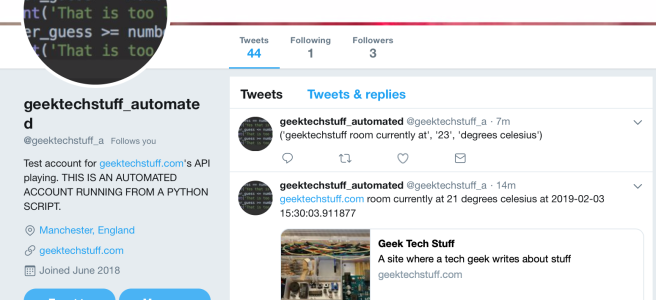 geektechstuff tweet bot now with temperature readings