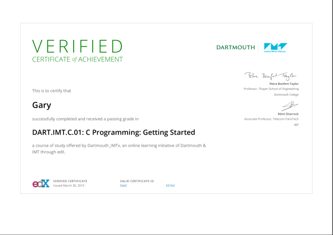 C Programming Getting Started certificate