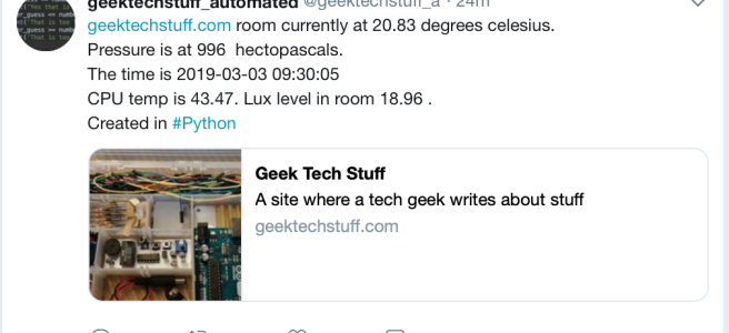 Twitter tweet bot now with Lux levels