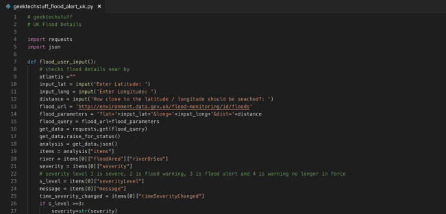 Python code for the Flood Alert API