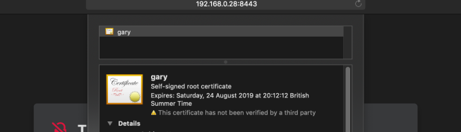 Certificate not verified by a third party