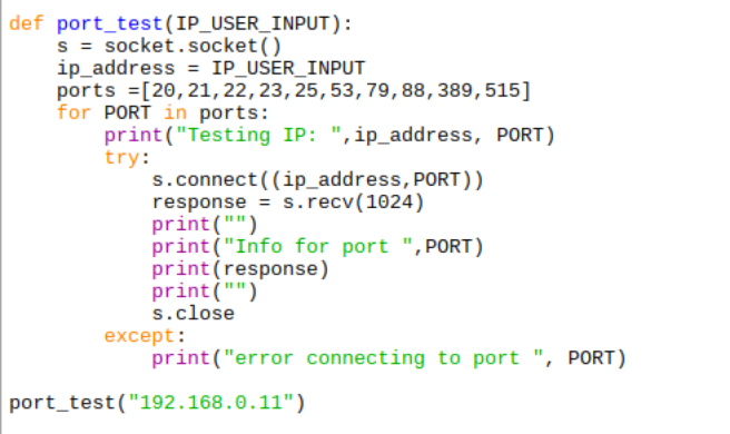 The port_test function