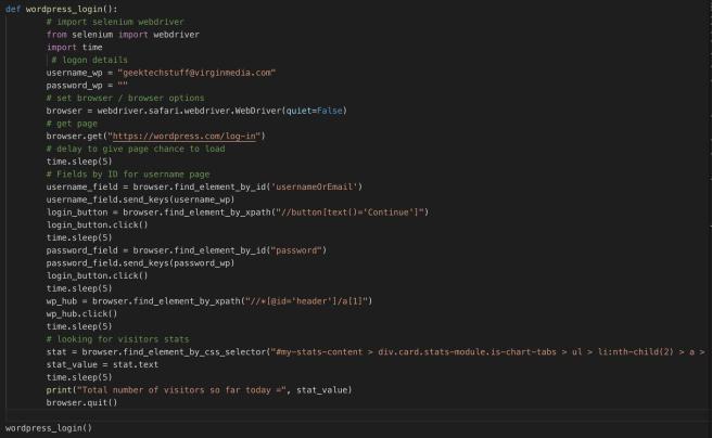 wordpress_logon function