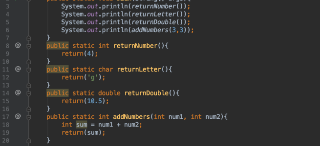 Examples of method returns
