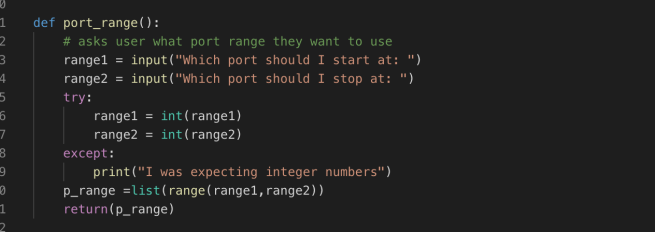 Function to ask for Port