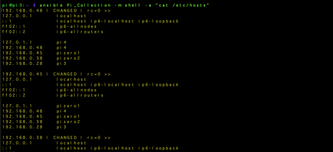 Using Ansible to change the host file on multiple Pis