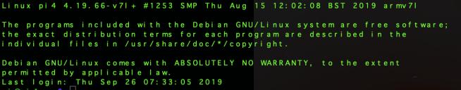 Default Raspbian Buster SSH banner