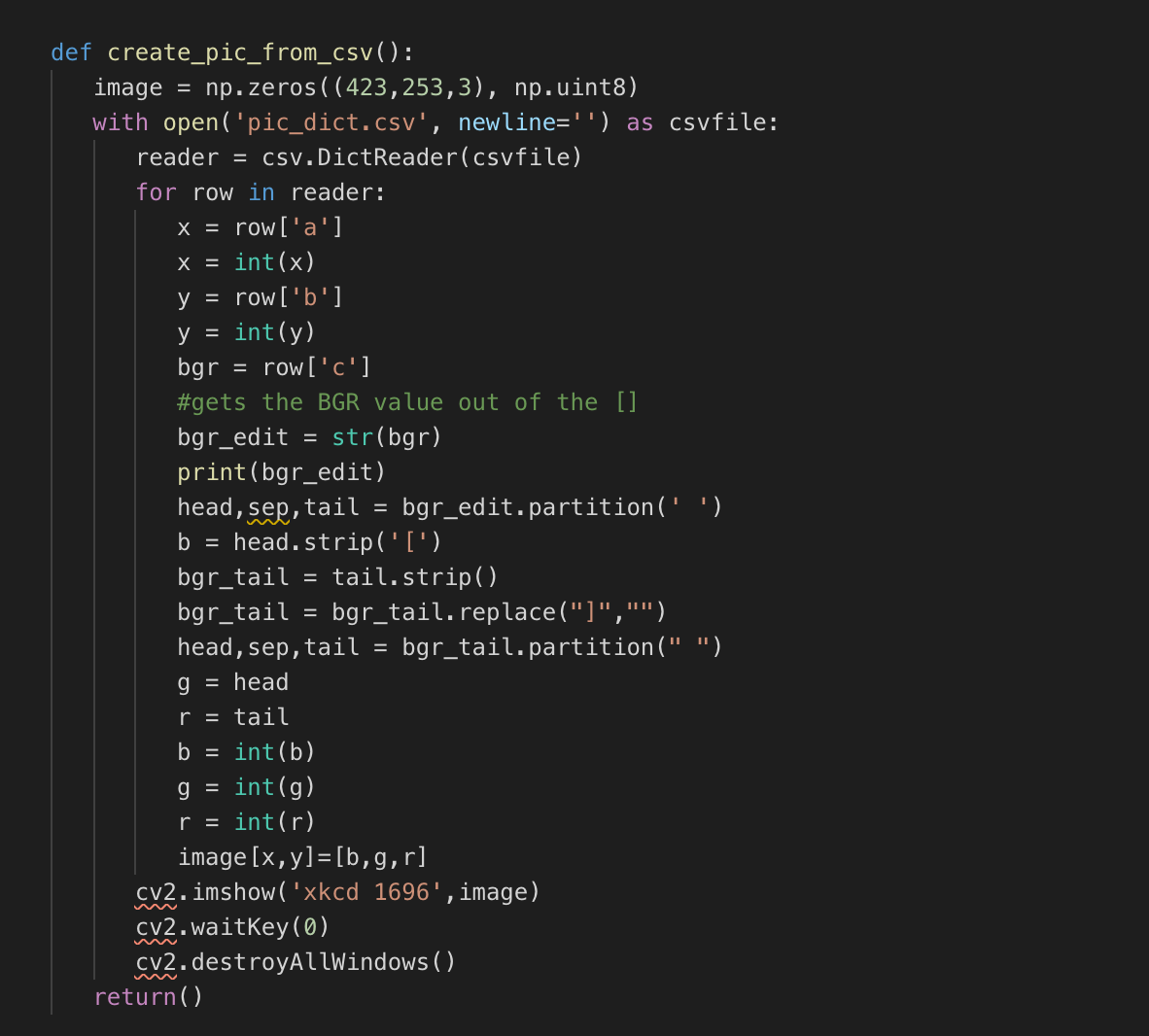 Turning A CSV Back Into An Image (Python)