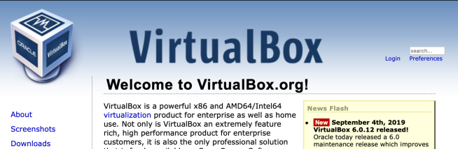Oracle Virtual Box Webpage