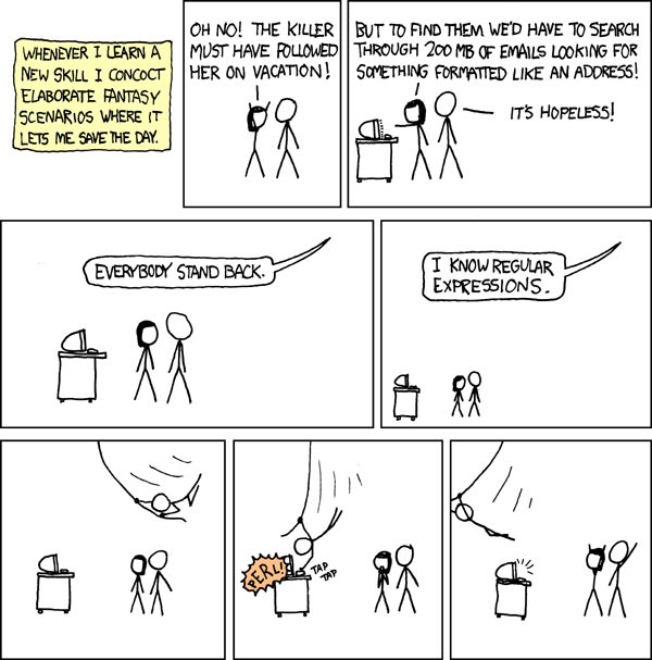 https://xkcd.com/208/ - a comic showing regular expressions in action