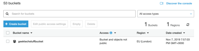 AWS S3 Bucket Screen