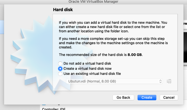 Adding a hard disk to the virtual box
