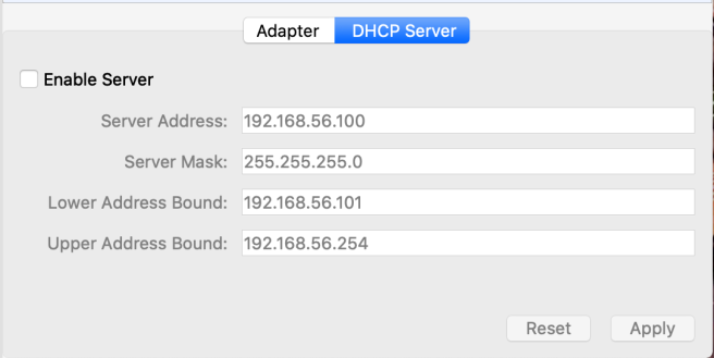 Virtual Box Adapter DHCP Options