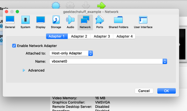 virtual network adapter settings