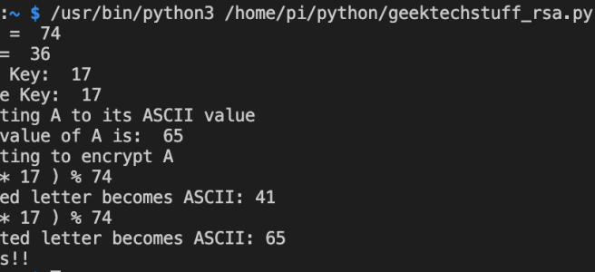 My Python program successfully encrypts ASCII A (65) to a different value (41) and back again.