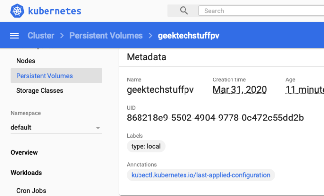 Persistent Volumes in Kubernetes Dashboard
