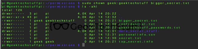 sudo chown geek:geektechstuff bigger_secret.txt