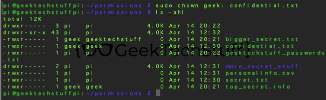 sudo chown geek: