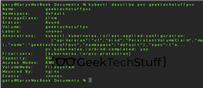kubectl describe pvc geektechstuffpvc