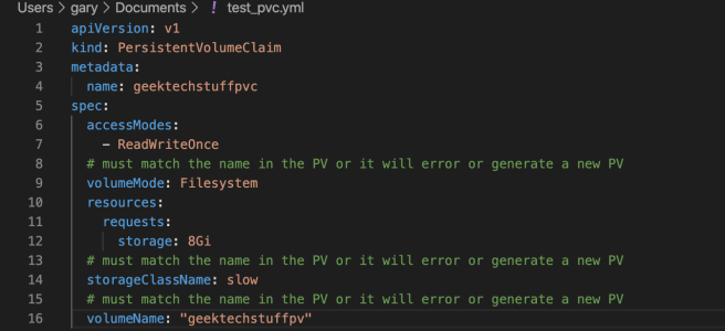 A Kubernetes Persistent Volume Claim (PVC)