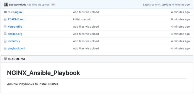 NGINX Ansible Playbook on GitHub