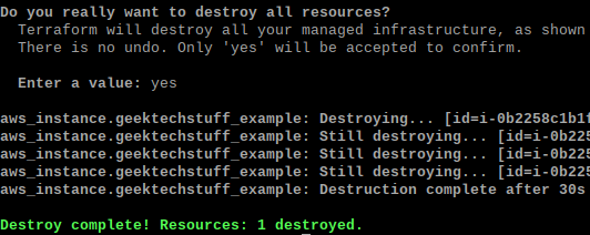 Terraform destroying