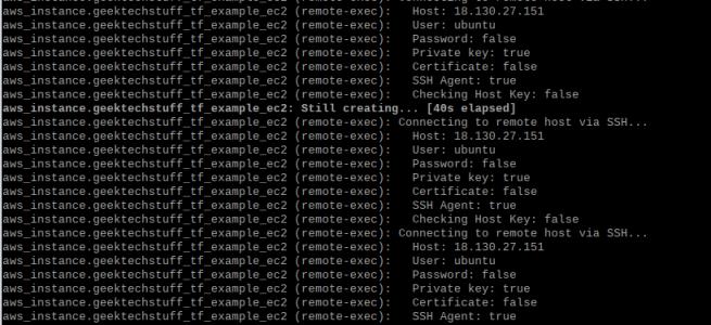 Terraform attempting remote-exec command
