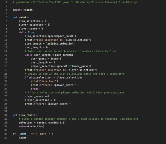 Python3 code to show random number selection