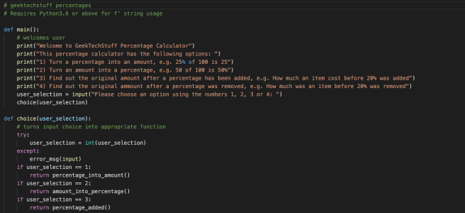 Python to help with percentages