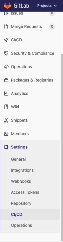 GitLab side menu showing Settings > CI/CD
