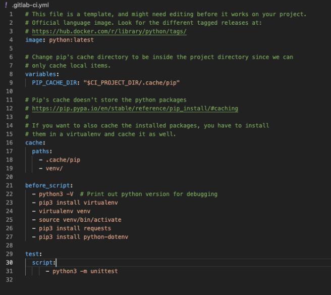 GitLab CI YAML file to run Python Unit Tests