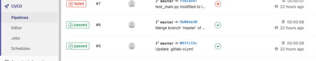 GitLab CI/CD showing passing and failed tests.
